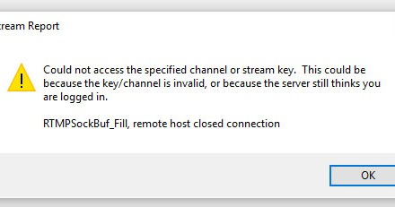 could not access the specified channel or stream key