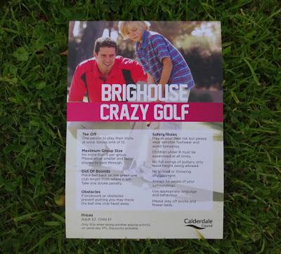 Brighouse Crazy Golf course scorecard from Wellholme Park