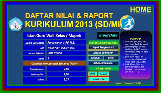 Download Aplikasi Raport Kurikulum 2013 Terbaru Versi 2017/2018
