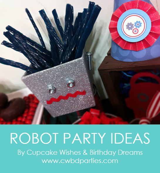 Create a simple and affordable robot party with ideas from Cupcake Wishes & Birthday Dreams