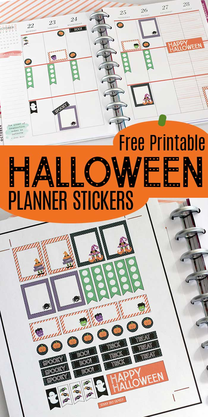 FREE PRINTABLE HALLOWEEN PLANNER STICKERS. Over 40 cute Halloween planner stickers to fit Happy Planner, Erin Condren, and more. Cute planner stickers for Halloween activities and more. #halloween #happyplanner #planner #plannerstickers #freeprintable