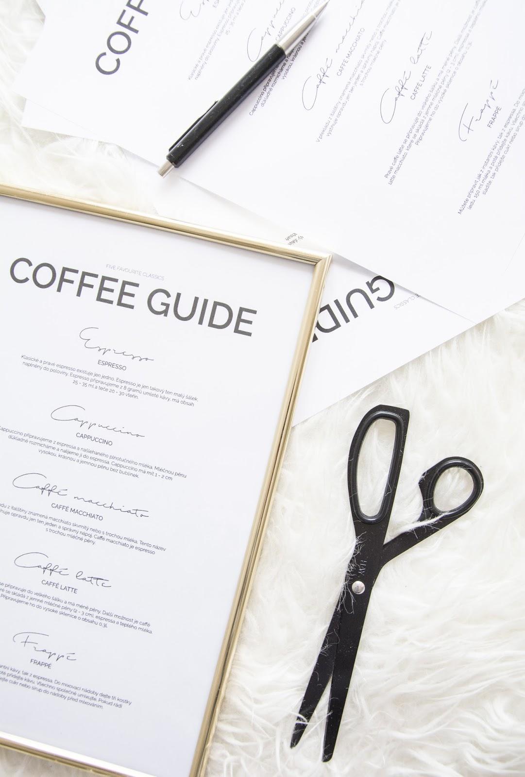 Coffe guide, příprava kávy, skandinávské dekorace, bílý interiér, kajastef