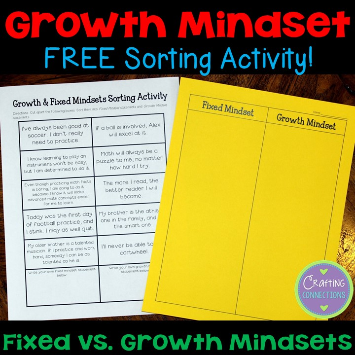 Crafting Connections: Growth vs. Fixed Mindsets... A FREE Sorting ...