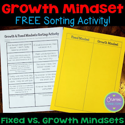Help students differentiate between growth mindset statements and fixed mindset statements with this FREE learning center!