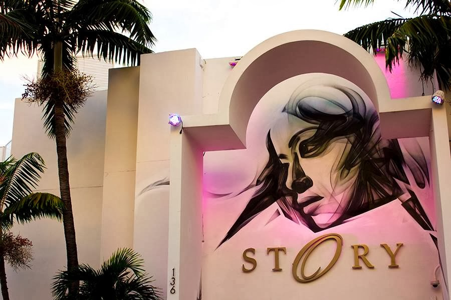 New Street Art Piece by Greek Artist iNO at the Story Nightclub in Miami Beach, USA.