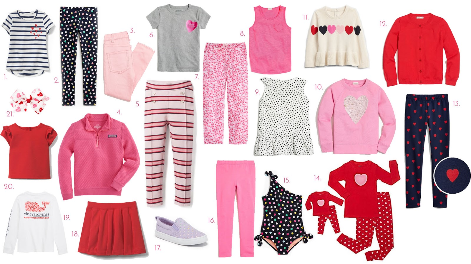 0a316a3ff50f7 Stripe Top with Hearts (sizes ). 2. Conversation Heart Leggings (sizes ).  3. Pink Denim (sizes ). 4. Pink Popover (sizes ). 5. Stripe Pants (sizes ).  6.