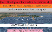 Jammu & Kashmir State Power Development Corporation Limited Recruitment 2017– 149 Junior Engineer, Geological Assistant