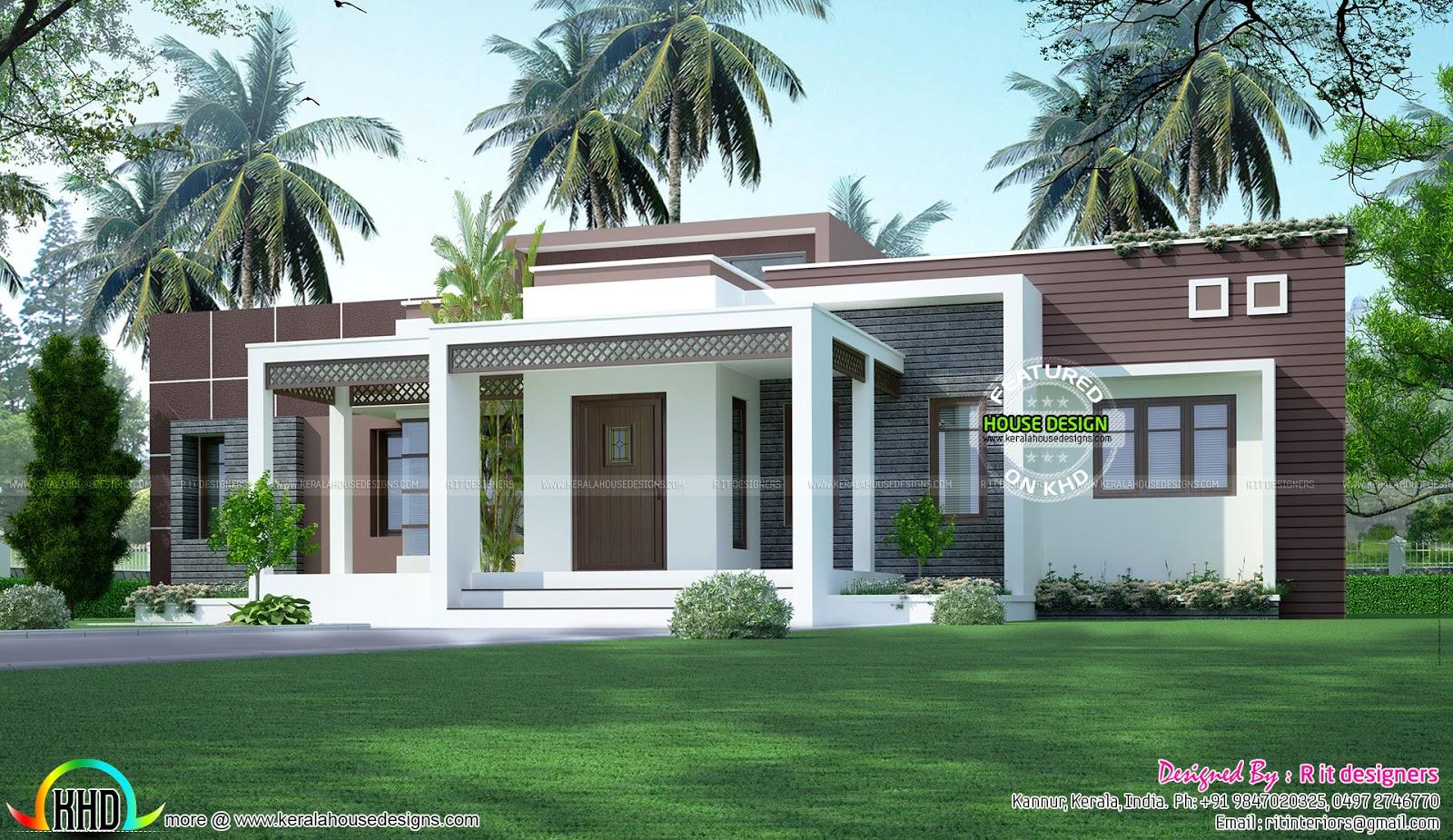 1775 Sq Ft Flat Roof One Floor Home Kerala Home Design