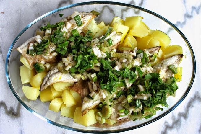 Maquereaux sur lit de pommes de terre à la vinaigrette (Maquereaux Maurinette)