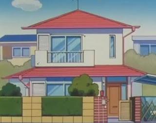 Illustrasi bangun segitiga dan segiempat pada rumah