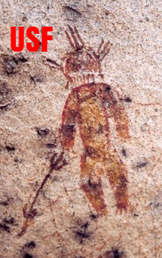 Cave painting of an Ancient Indian Alien in a spacesuit.