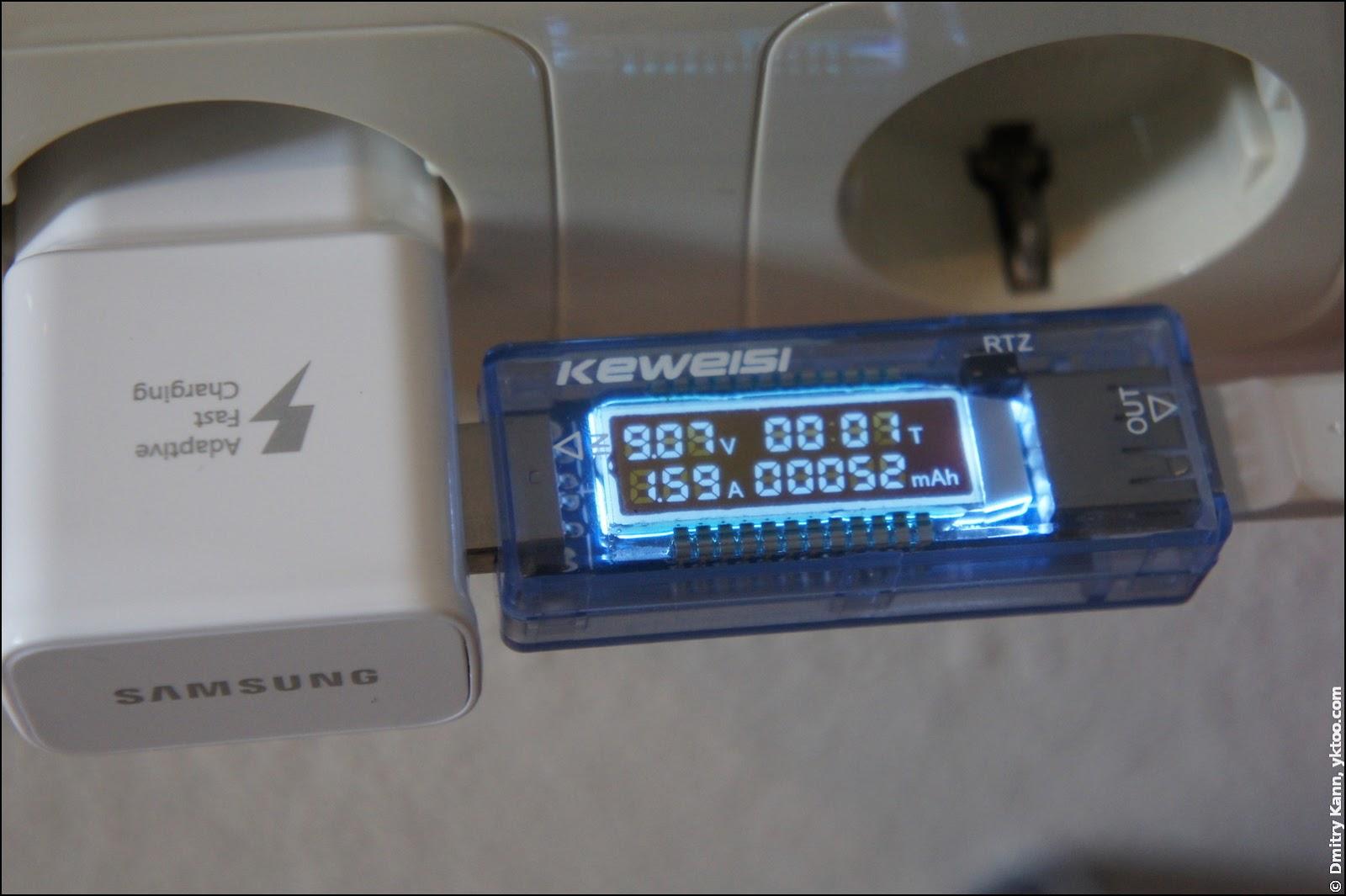 Samsung DC adapter, voltage 9 V.