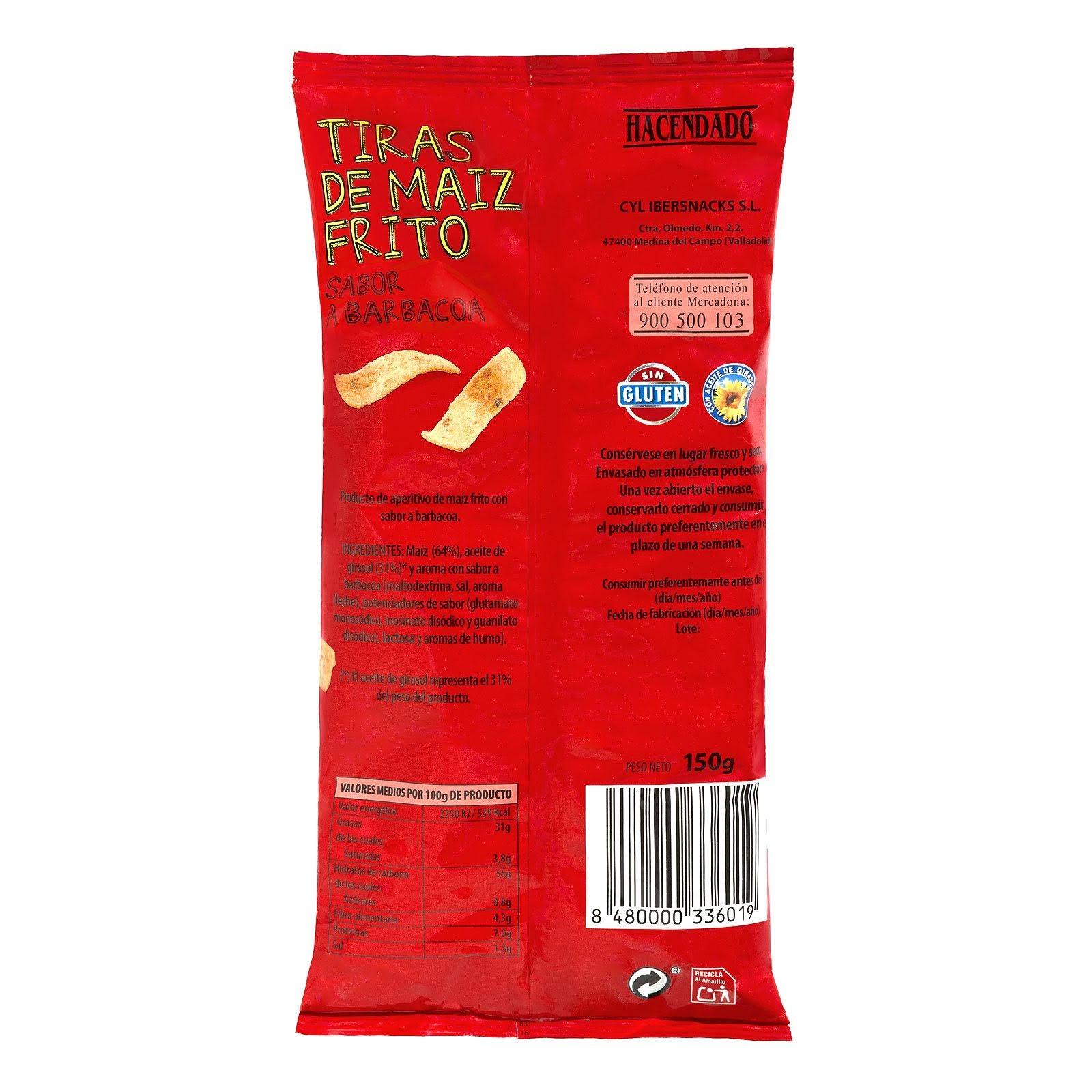 Tiras de maíz frito sabor barbacoa Hacendado