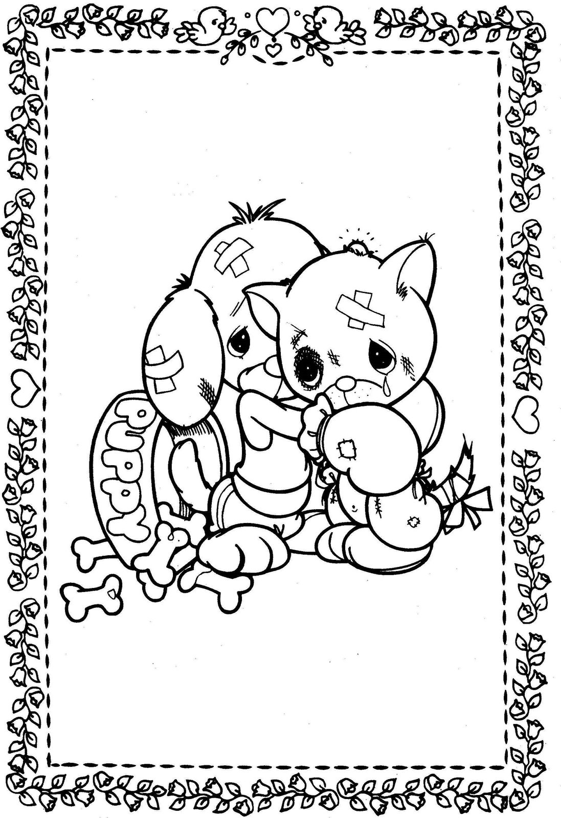 Precious Moments Drawings: kitty and puppy beaten to color