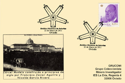 Tarjeta del matasellos del primer aniversario del Archivo Histórico de Asturias