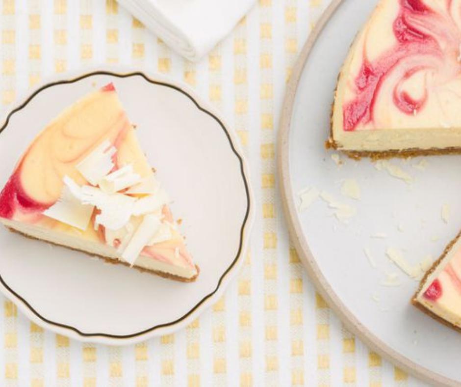 White Chocolate Cheesecake with Raspberry Swirl - food-drink-recipes.com
