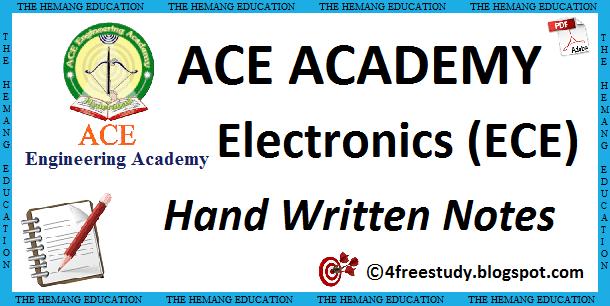GATE ACE Academy ECE Electronics and Communications Hand Written