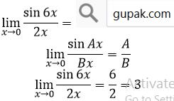 limit sin per x mendekati nol