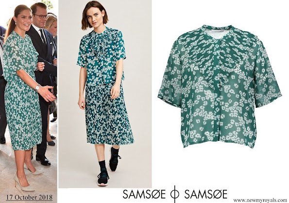 Crown Princess Victoria wore Samsøe & Samsøe Joanna blouse and Cathy skirt