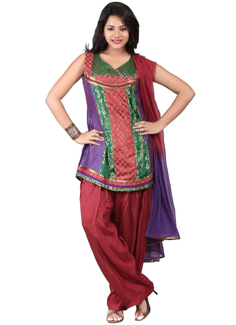 Multicolored Art Silk Salwar Suit