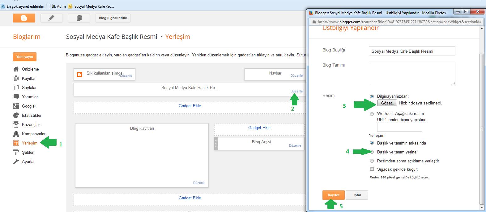 blogger header başlık resmini üst bilgi gadgeti ile resim ekleme
