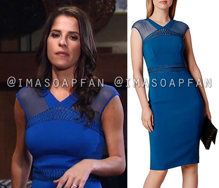 Sam Morgan, Kelly Monaco, Blue Dress with Mesh Panels, General Hospital, GH