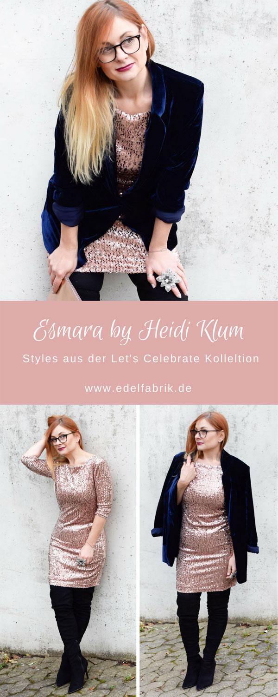 Party Kleid aus der Heidi Klum Kollektion für Lidl, Pailletten Kleid von Lidl, Samtblazer