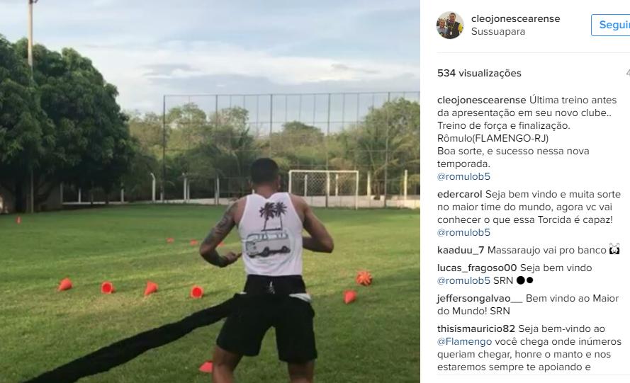 Cleojones Cearense, preparador físico, postou foto de especulado do time e entregou negociação (Foto: Reprodução)