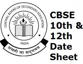 Class 12 Date sheet