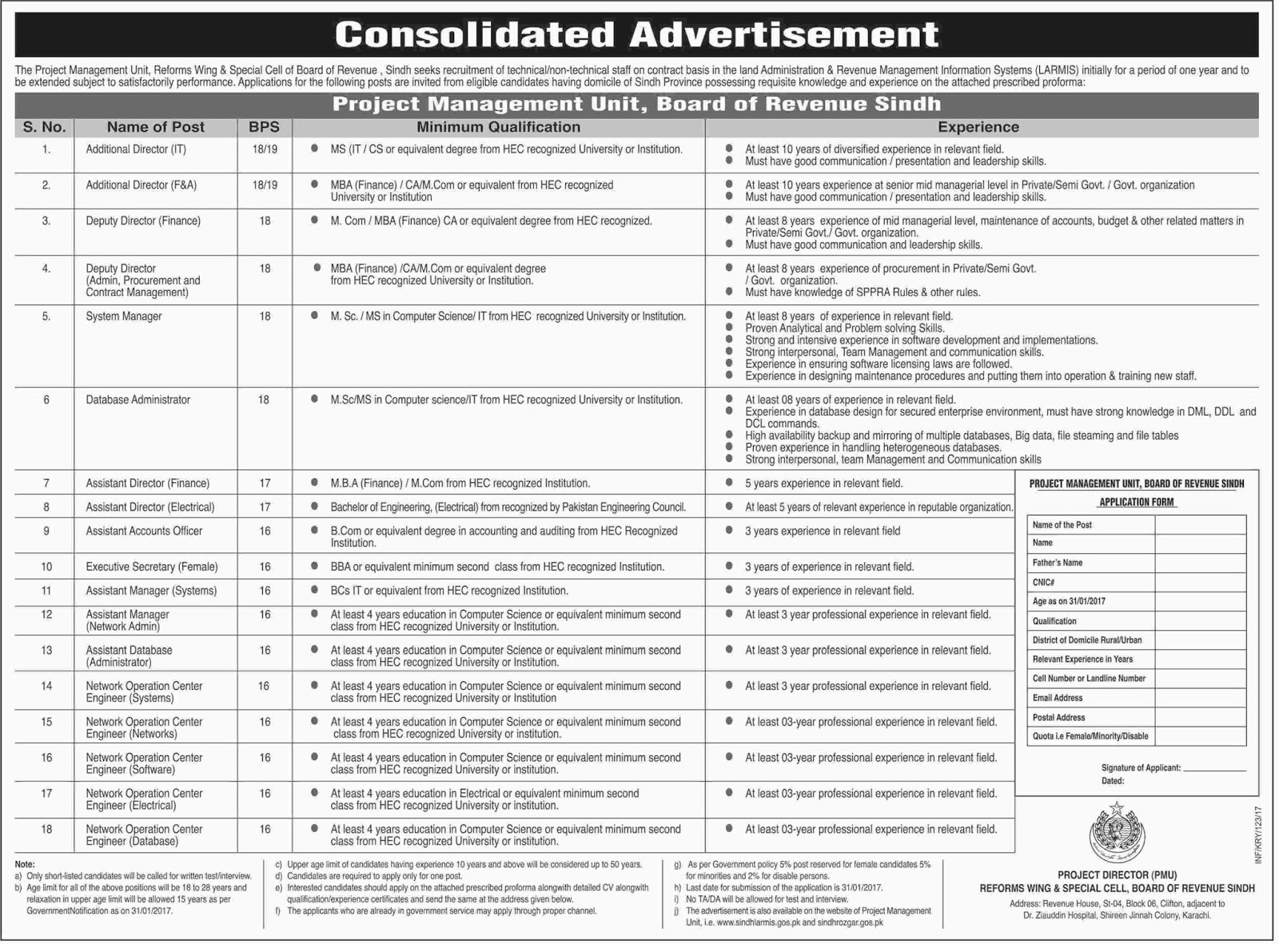 i and overseas jobs jobs vacancy project management unit jobs vacancy project management unit board of revenue sindh