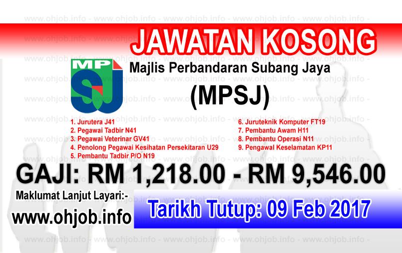 Jawatan Kerja Kosong Majlis Perbandaran Subang Jaya (MPSJ) logo www.ohjob.info februari 2017