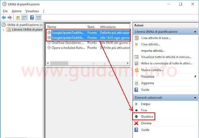 Disattivare aggiornamenti automatici Chrome da Utilità pianificazione di Windows
