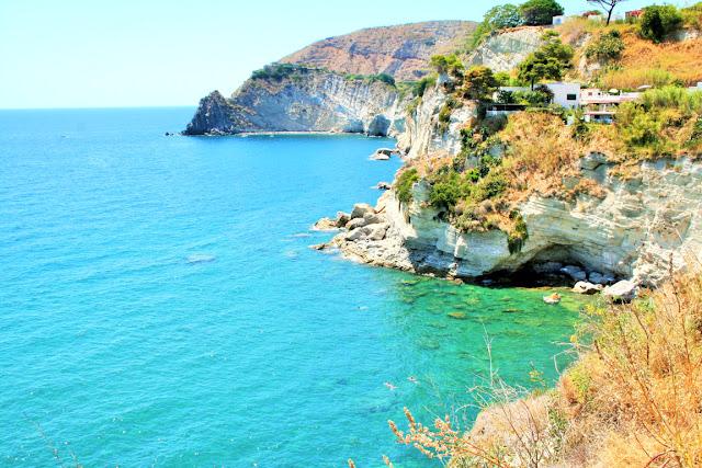 mare, acqua, vegetazione, monti, isola, Ischia, cielo