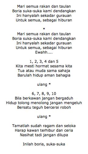 Not Angka Pianika Lagu  Boria Suka-Suka Ost Upin Ipin