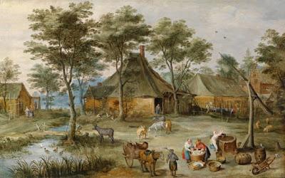 foto lukisan pemandangan kampung