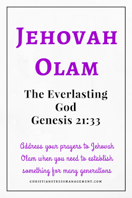 Jehovah Olam is from Genesis 21:33 and it means The Everlasting God