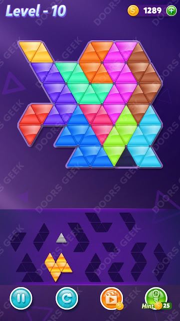 Block! Triangle Puzzle 12 Mania Level 10 Solution, Cheats, Walkthrough for Android, iPhone, iPad and iPod