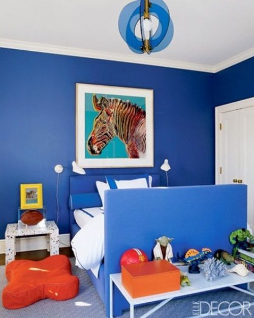 orange and royal blue bedroom
