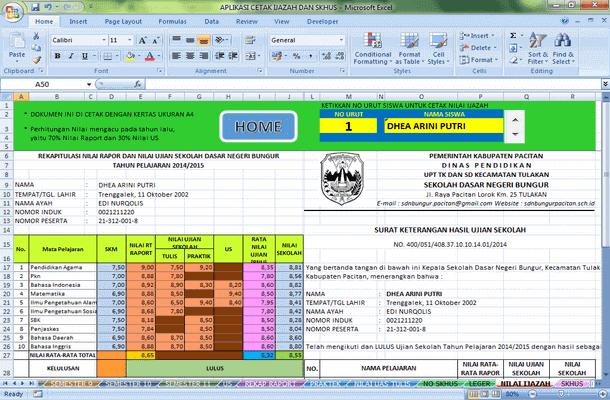 Aplikasi Nilai Ijazah dan SKHUS Format Microsoft Excel