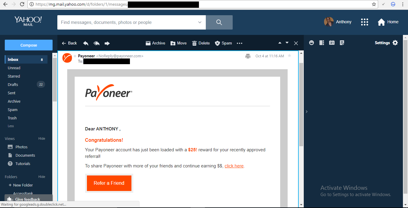 $25 Earned From Payoneer