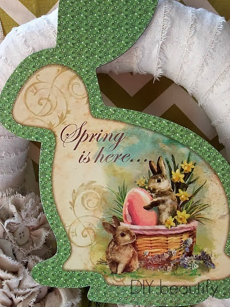 Shabby Spring Wreath with Easter Bunny
