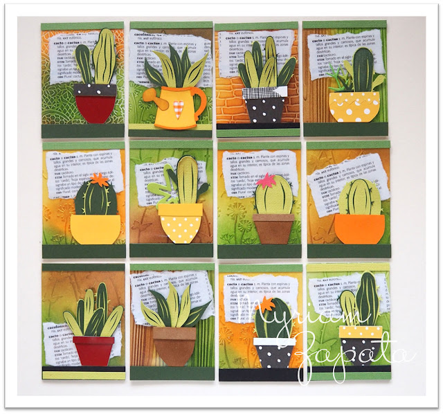 12 ATC de temática cactus. Vista general