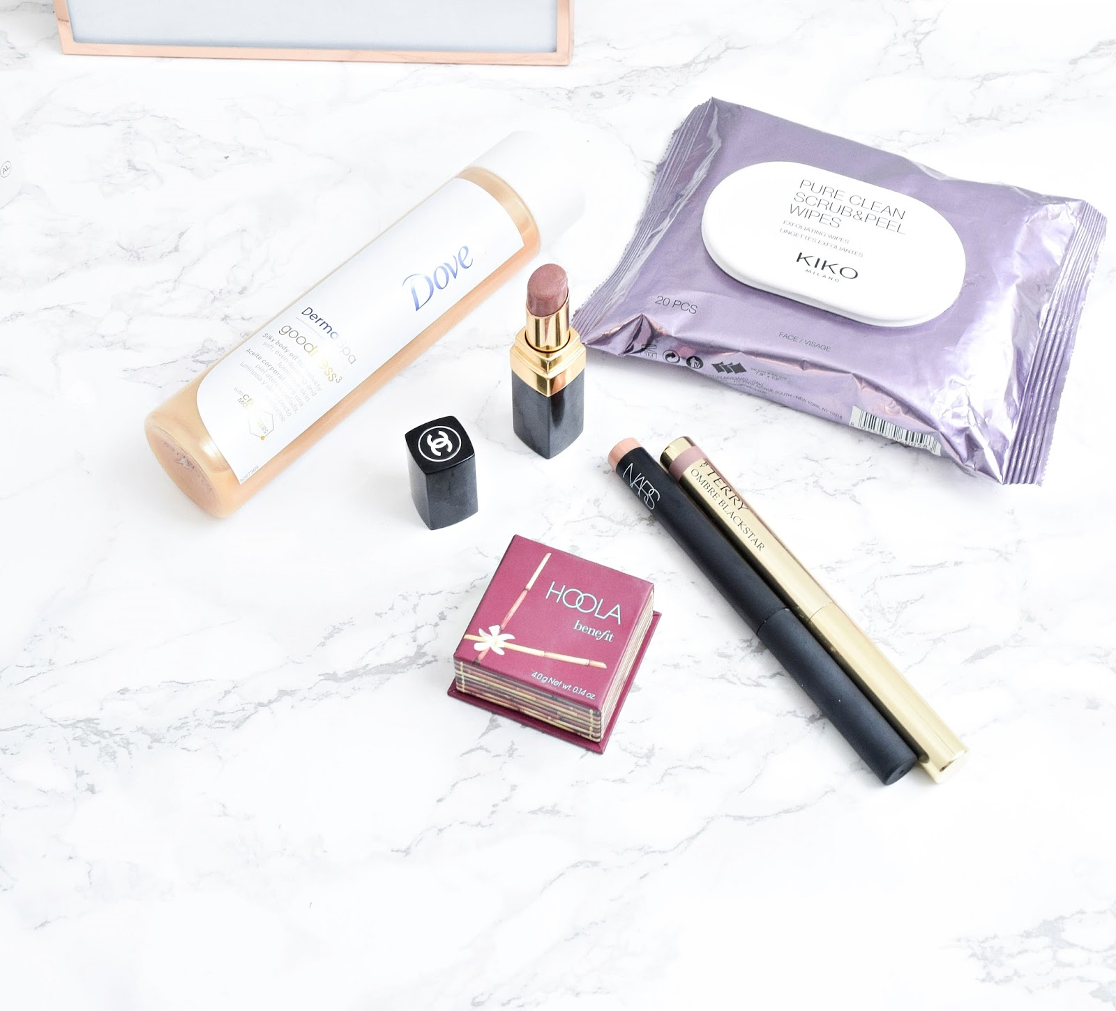 July beauty favorites, dove body oil, kiko review, nars, benefit hoola review
