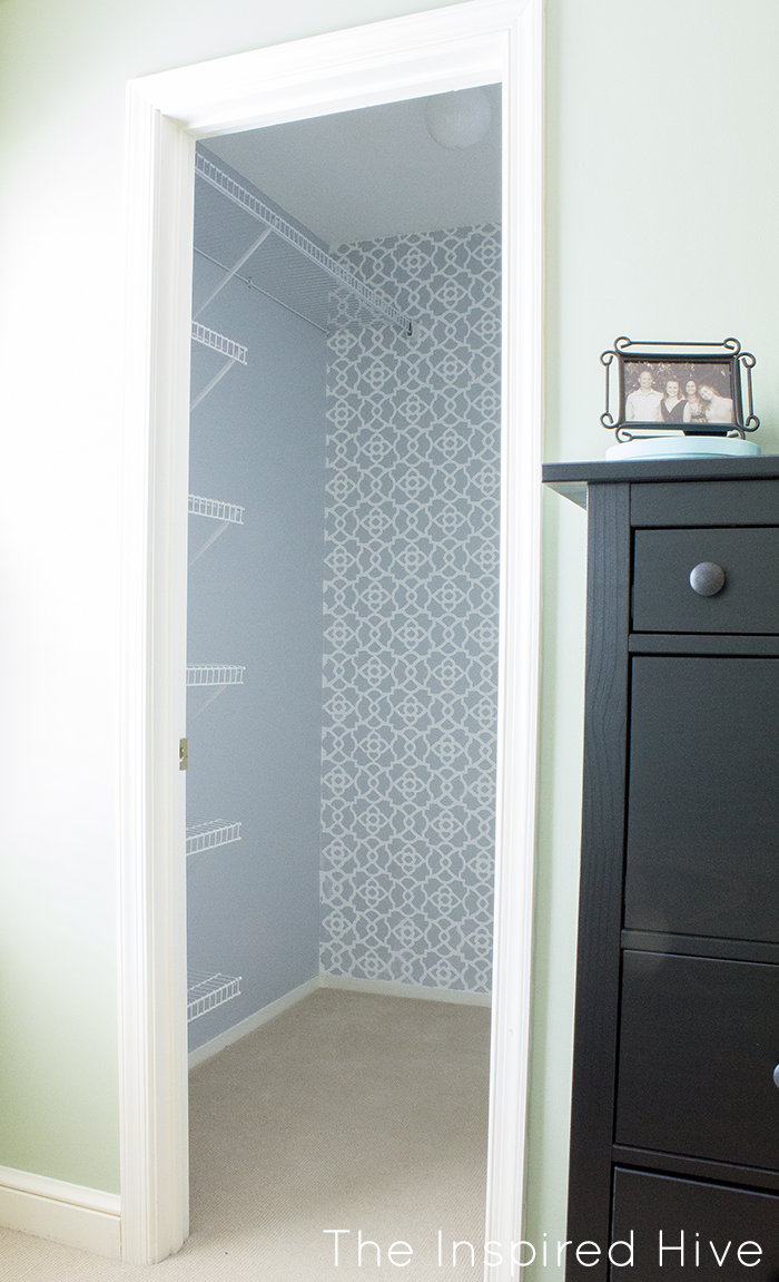 Stenciled closet wall monthly diy challenge the inspired hive part one of a beautiful walk in closet makeover how to stencil a feature wall amipublicfo Gallery