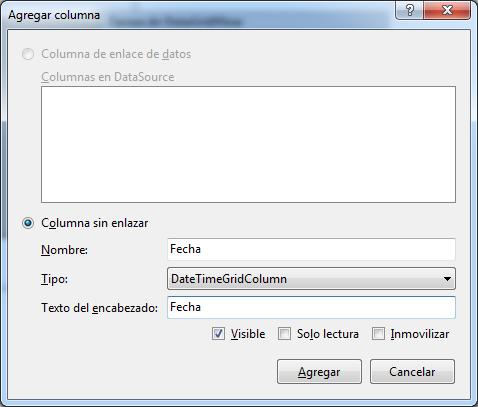 Crear columna DateTimeGridColumn