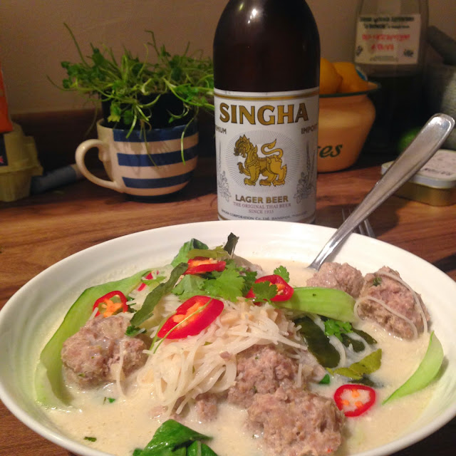 singha beer and thai chicken dumpling soup