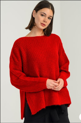 düşük kollu kırmızı kazak bayan