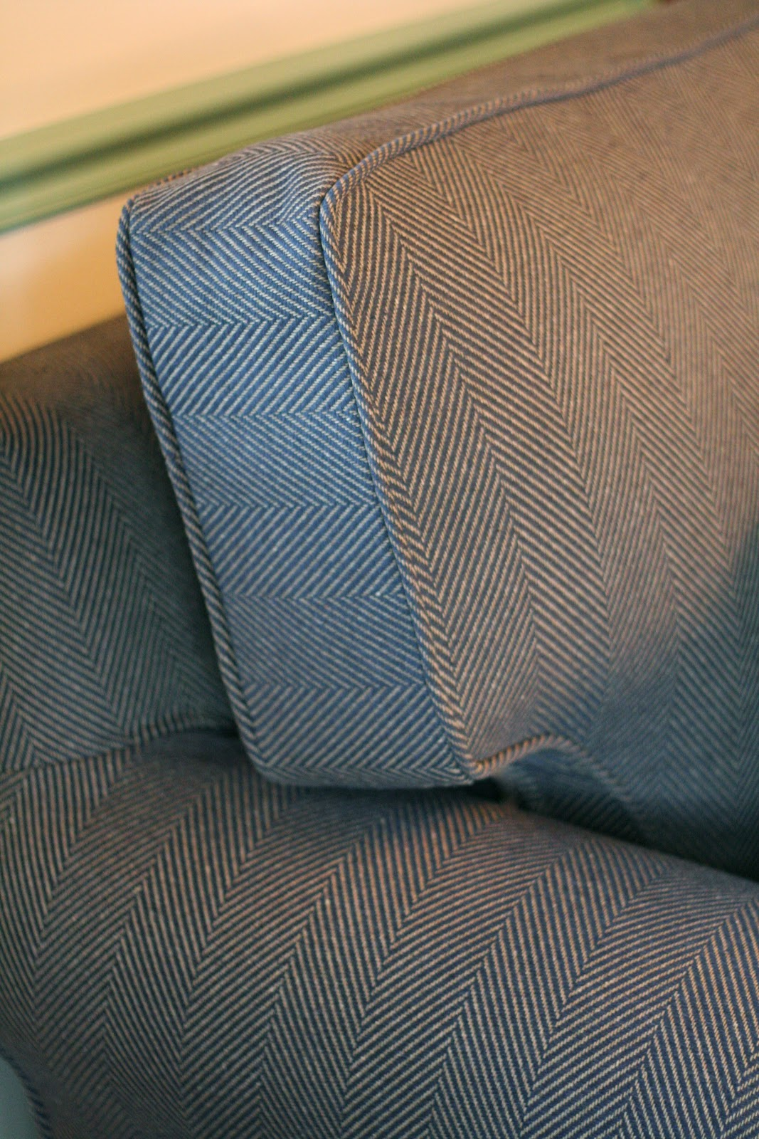 Custom Slipcovers By Shelley Navy Tan Herringbone Couch