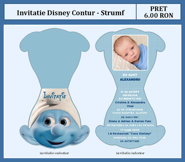 invitatii botez contur Strumf