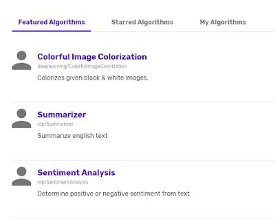 Ejemplos de algoritmos disponibles.